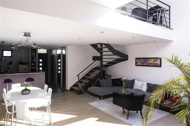 003 maisons bois jumelles homeadore - Escalier ouvert salon ...