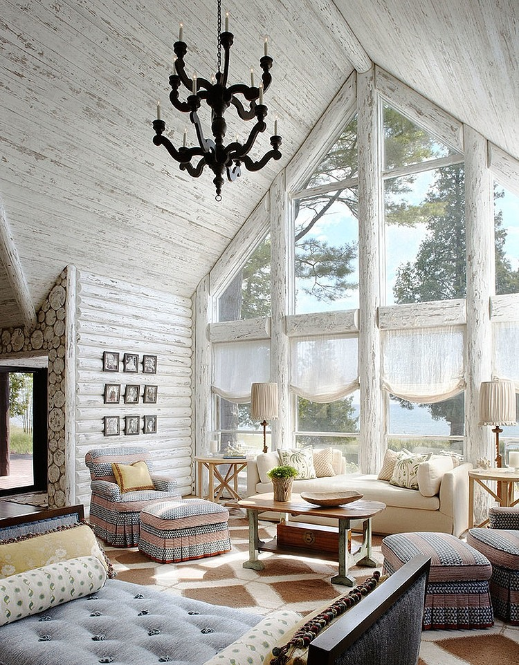 Whitewashed lake cabin by jessica jubelirer design homeadore - Interior pictures of small log cabins ...