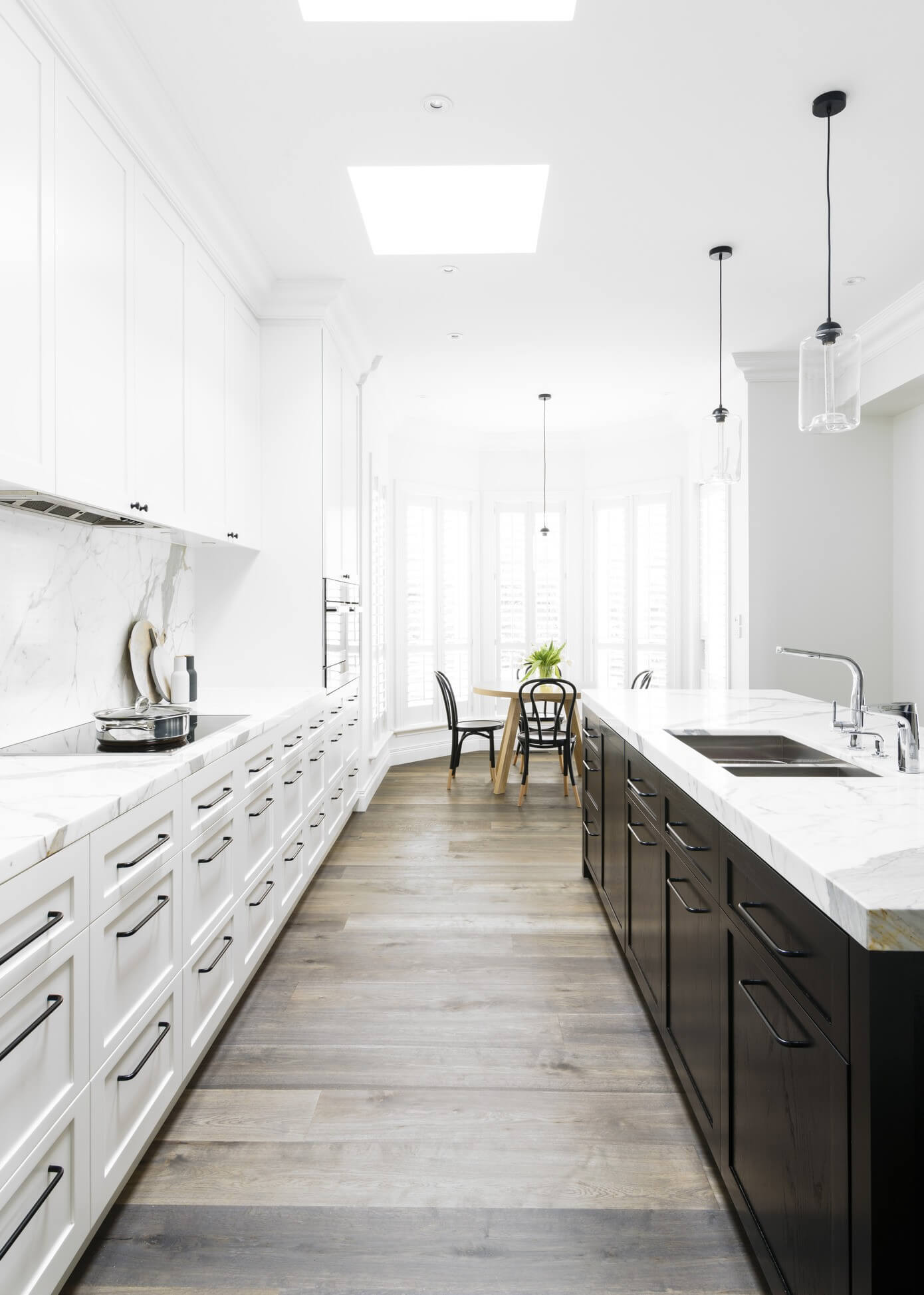 Galley Kitchens with White Cabinets
