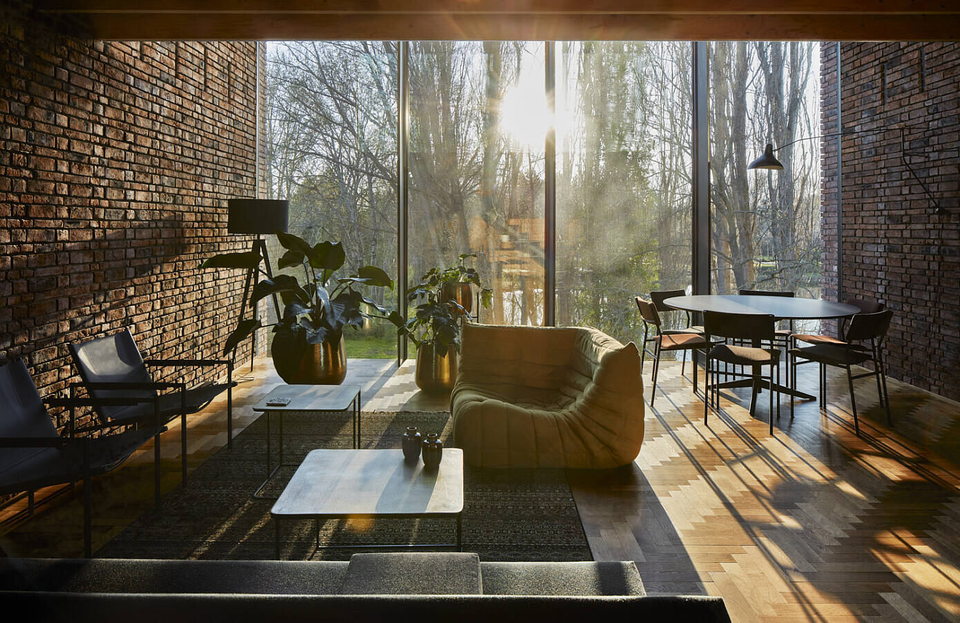 Brick House with Rammed Earth Wall by Ast77